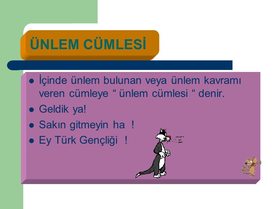 """ÜNLEM CÜMLESİ İİçinde ünlem bulunan veya ünlem kavramı veren cümleye """" ünlem cümlesi """" denir. GGeldik ya! SSakın gitmeyin ha ! EEy Türk Gençli"""