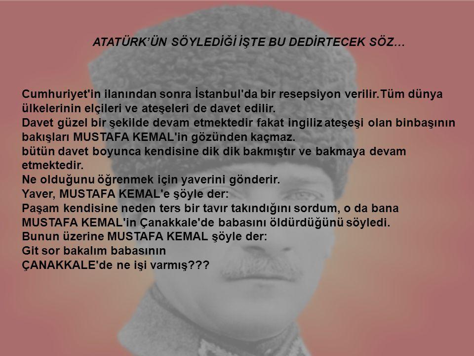 Cumhuriyet'in ilanından sonra İstanbul'da bir resepsiyon verilir.Tüm dünya ülkelerinin elçileri ve ateşeleri de davet edilir. Davet güzel bir şekilde