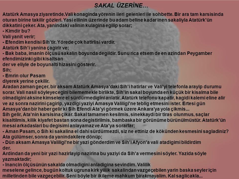 Atatürk Amasya ziyaretinde.Vali konaginda yörenin ileri gelenleri ile sohbette. Bir ara tam karsisinda oturan birine takilir gözleri. Yasi ellinin üze