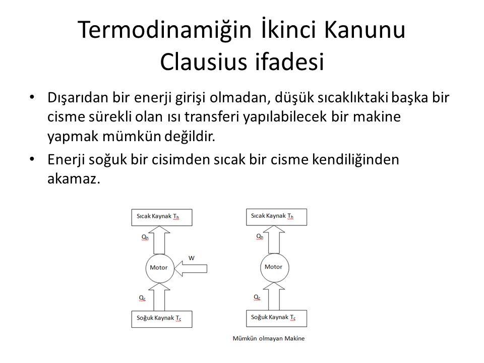 Termodinamiğin İkinci Kanunu Clausius ifadesi • Dışarıdan bir enerji girişi olmadan, düşük sıcaklıktaki başka bir cisme sürekli olan ısı transferi yapılabilecek bir makine yapmak mümkün değildir.