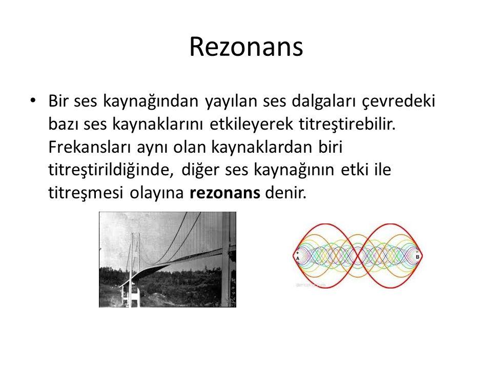 Rezonans • Bir ses kaynağından yayılan ses dalgaları çevredeki bazı ses kaynaklarını etkileyerek titreştirebilir.