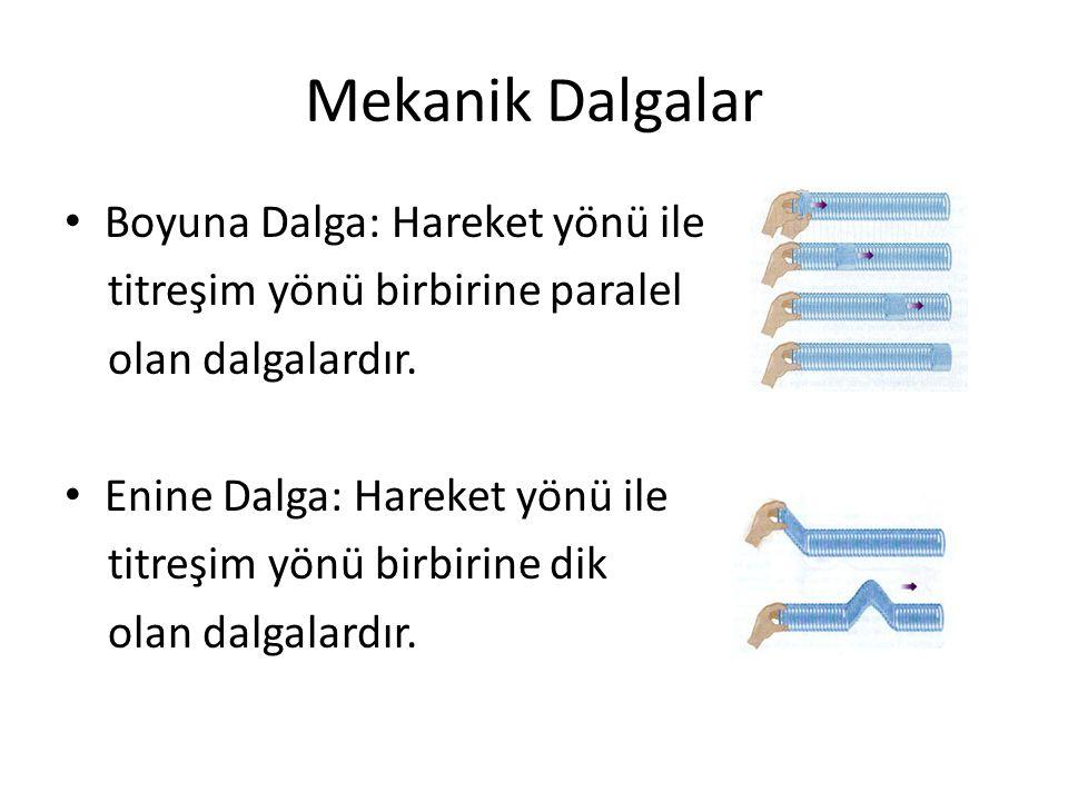 Mekanik Dalgalar • Boyuna Dalga: Hareket yönü ile titreşim yönü birbirine paralel olan dalgalardır.