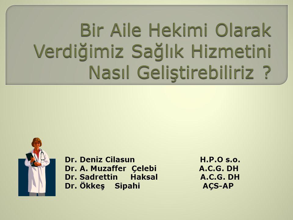 Dr. Deniz Cilasun H.P.O s.o. Dr. A. Muzaffer Çelebi A.C.G. DH Dr. Sadrettin Haksal A.C.G. DH Dr. Ökkeş Sipahi AÇS-AP