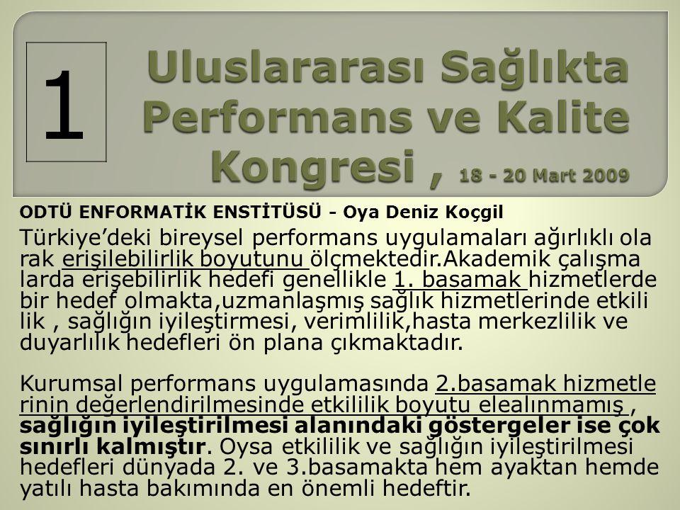 ODTÜ ENFORMATİK ENSTİTÜSÜ - Oya Deniz Koçgil Türkiye'deki bireysel performans uygulamaları ağırlıklı ola rak erişilebilirlik boyutunu ölçmektedir.Akad