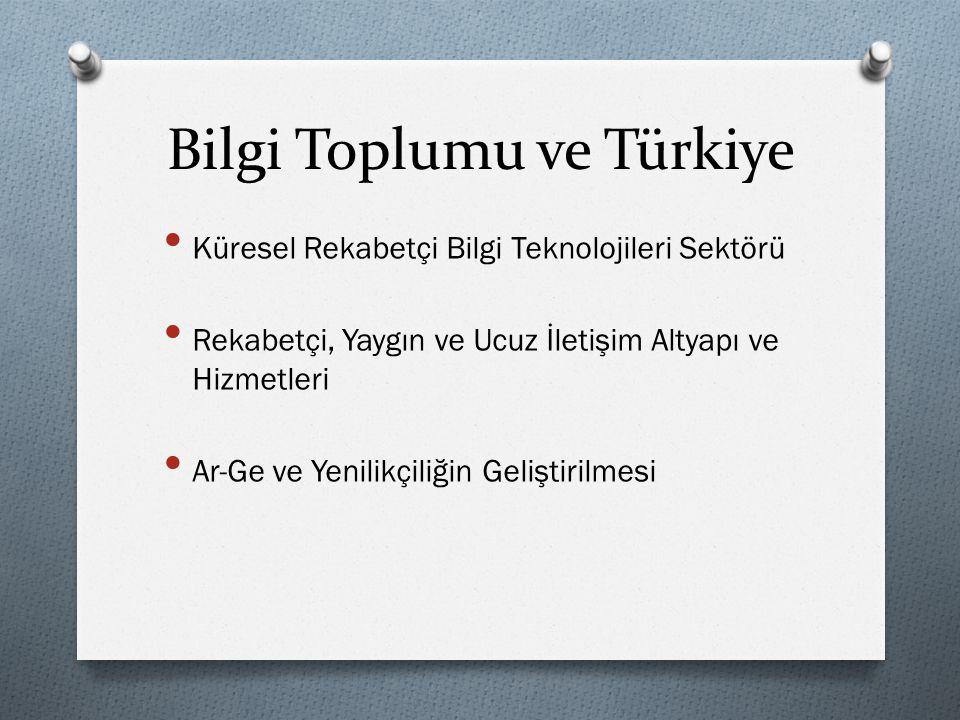 Bilgi Toplumu ve Türkiye • Küresel Rekabetçi Bilgi Teknolojileri Sektörü • Rekabetçi, Yaygın ve Ucuz İletişim Altyapı ve Hizmetleri • Ar-Ge ve Yenilik
