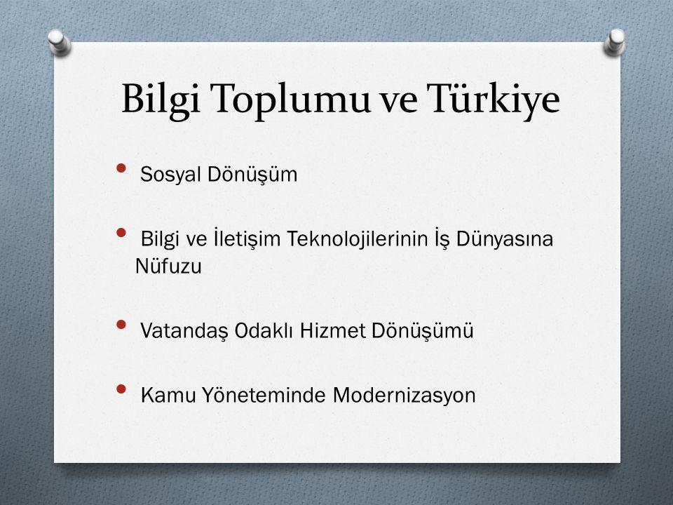 Bilgi Toplumu ve Türkiye • Sosyal Dönüşüm • Bilgi ve İletişim Teknolojilerinin İş Dünyasına Nüfuzu • Vatandaş Odaklı Hizmet Dönüşümü • Kamu Yönetemind
