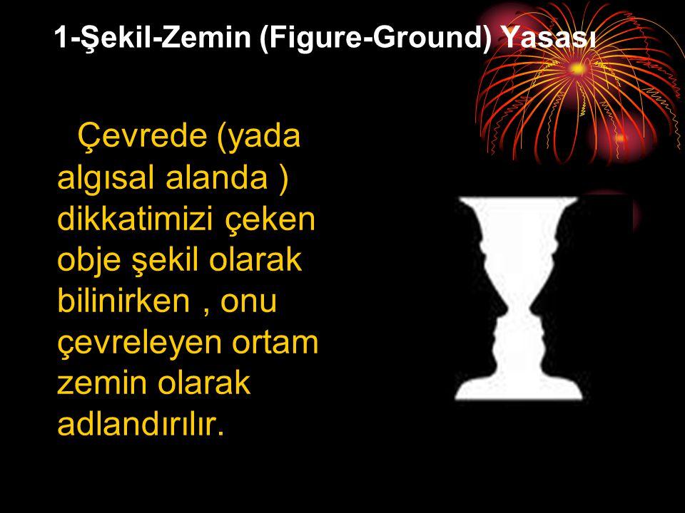 1-Şekil-Zemin (Figure-Ground) Yasası Çevrede (yada algısal alanda ) dikkatimizi çeken obje şekil olarak bilinirken, onu çevreleyen ortam zemin olarak