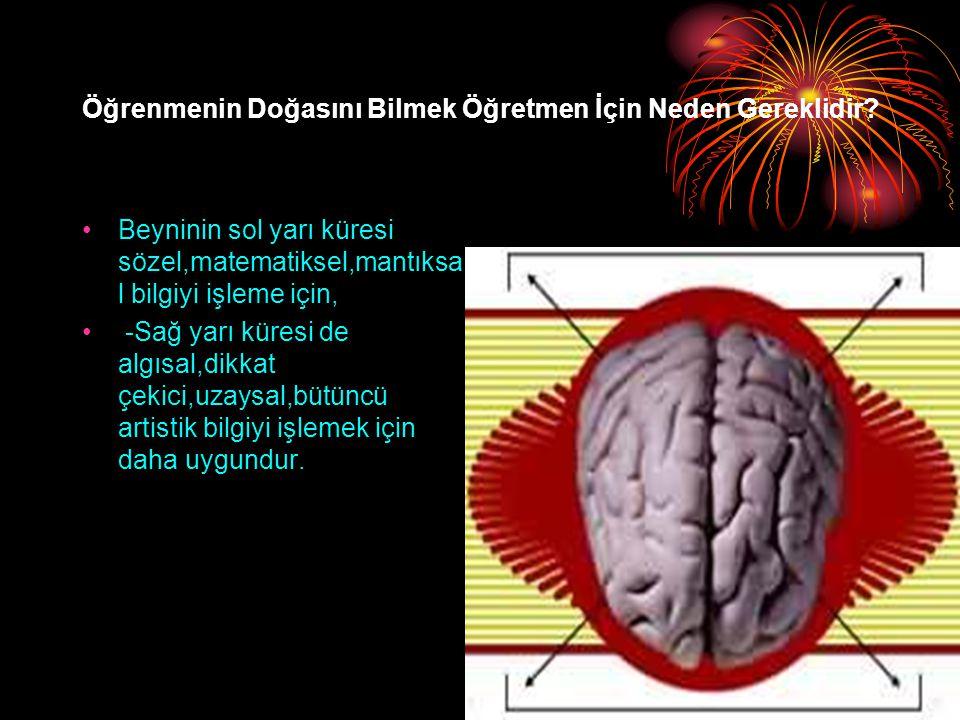 Öğrenmenin Doğasını Bilmek Öğretmen İçin Neden Gereklidir? •Beyninin sol yarı küresi sözel,matematiksel,mantıksa l bilgiyi işleme için, • -Sağ yarı kü