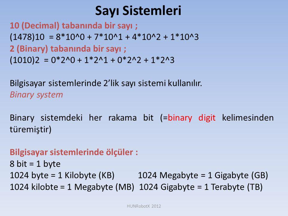 Sayı Sistemleri 10 (Decimal) tabanında bir sayı ; (1478)10 = 8*10^0 + 7*10^1 + 4*10^2 + 1*10^3 2 (Binary) tabanında bir sayı ; (1010)2 = 0*2^0 + 1*2^1