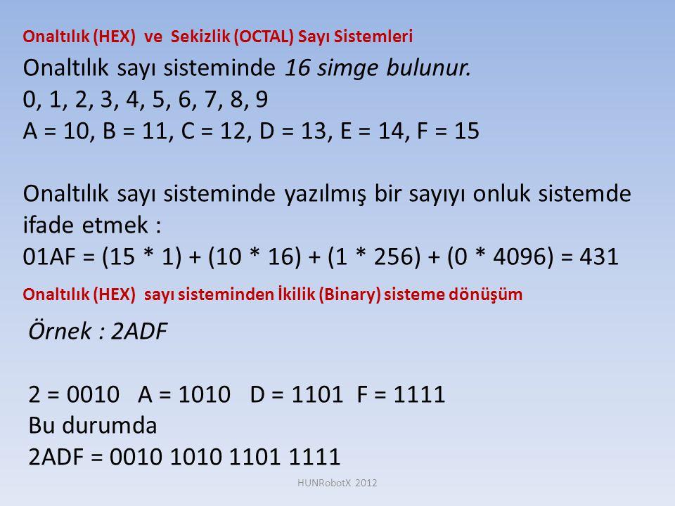 Onaltılık (HEX) ve Sekizlik (OCTAL) Sayı Sistemleri Onaltılık sayı sisteminde 16 simge bulunur. 0, 1, 2, 3, 4, 5, 6, 7, 8, 9 A = 10, B = 11, C = 12, D