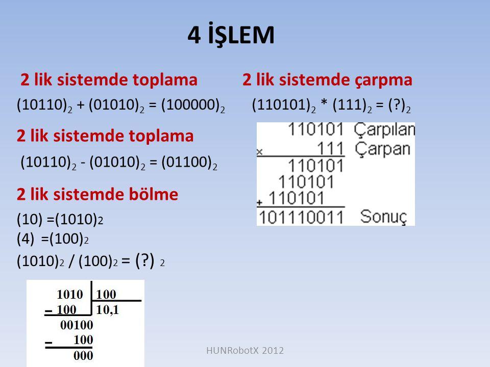 2 lik sistemde toplama 4 İŞLEM 2 lik sistemde çarpma (10110) 2 + (01010) 2 = (100000) 2 2 lik sistemde toplama (110101) 2 * (111) 2 = (?) 2 (10110) 2