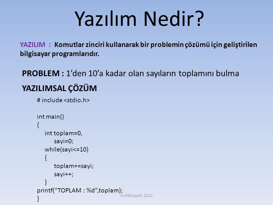 Yazılım Nedir? YAZILIM : Komutlar zinciri kullanarak bir problemin çözümü için geliştirilen bilgisayar programlarıdır. HUNRobotX 2012 PROBLEM : 1'den