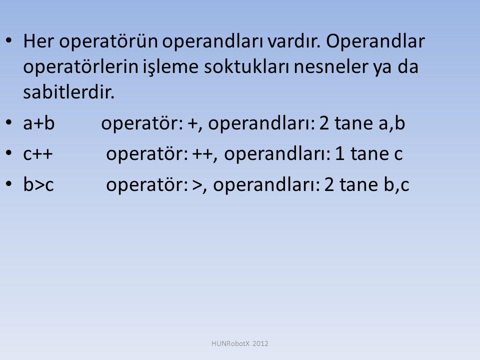 • Her operatörün operandları vardır. Operandlar operatörlerin işleme soktukları nesneler ya da sabitlerdir. • a+boperatör: +, operandları: 2 tane a,b