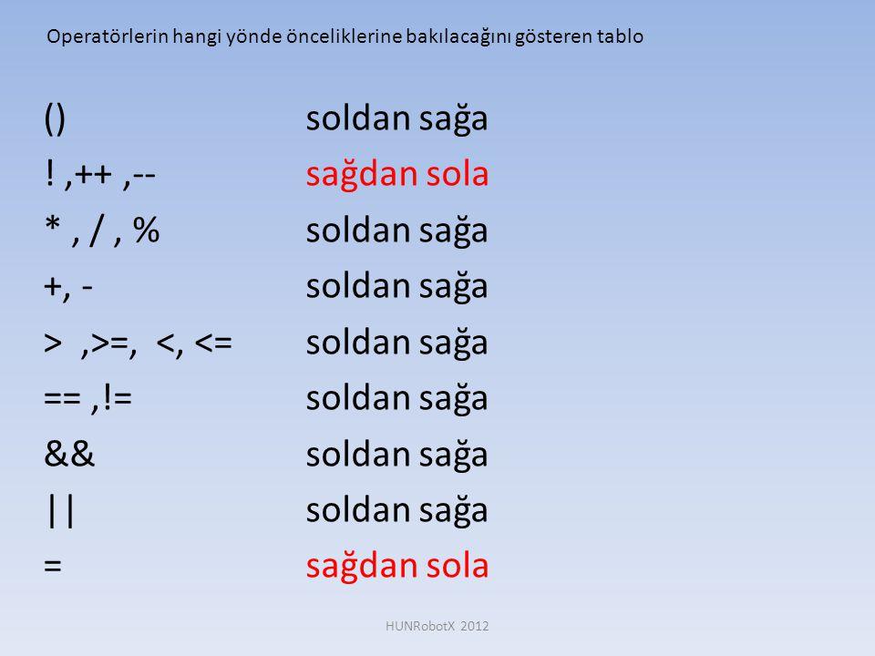 ()soldan sağa !,++,--sağdan sola *, /, %soldan sağa +, -soldan sağa >,>=, <, <=soldan sağa ==,!=soldan sağa &&soldan sağa ||soldan sağa = sağdan sola