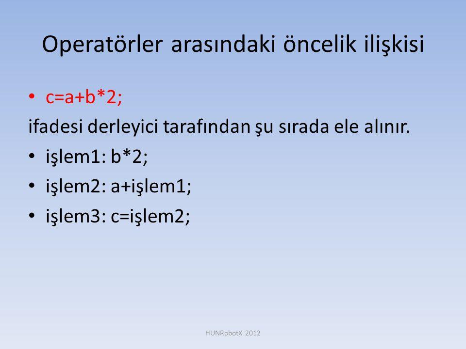 Operatörler arasındaki öncelik ilişkisi • c=a+b*2; ifadesi derleyici tarafından şu sırada ele alınır. • işlem1: b*2; • işlem2: a+işlem1; • işlem3: c=i
