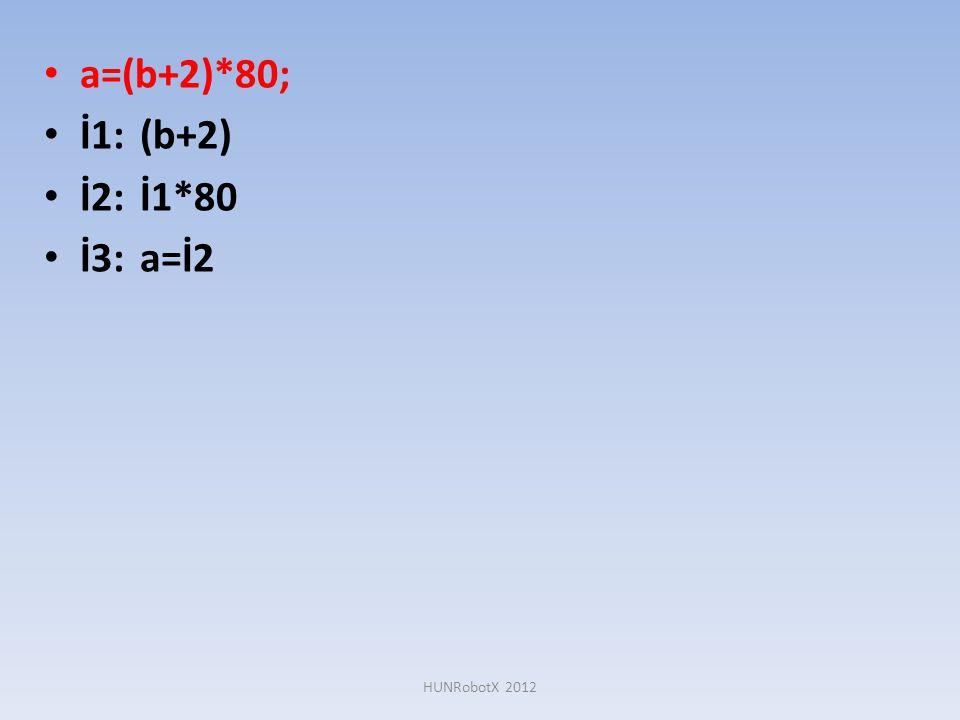 • a=(b+2)*80; • İ1:(b+2) • İ2:İ1*80 • İ3:a=İ2 HUNRobotX 2012