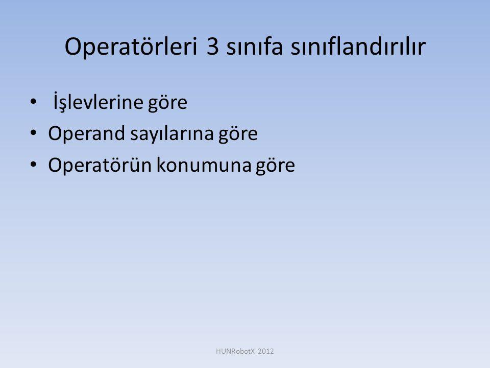 Operatörleri 3 sınıfa sınıflandırılır • İşlevlerine göre • Operand sayılarına göre • Operatörün konumuna göre HUNRobotX 2012