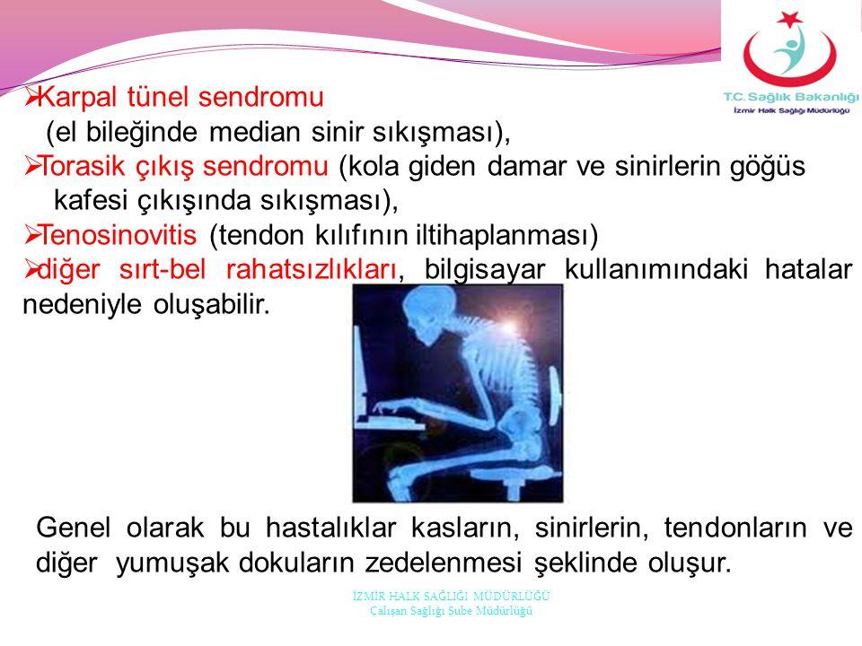  Karpal tünel sendromu (el bileğinde median sinir sıkışması),  Torasik çıkış sendromu (kola giden damar ve sinirlerin göğüs kafesi çıkışında sıkışma