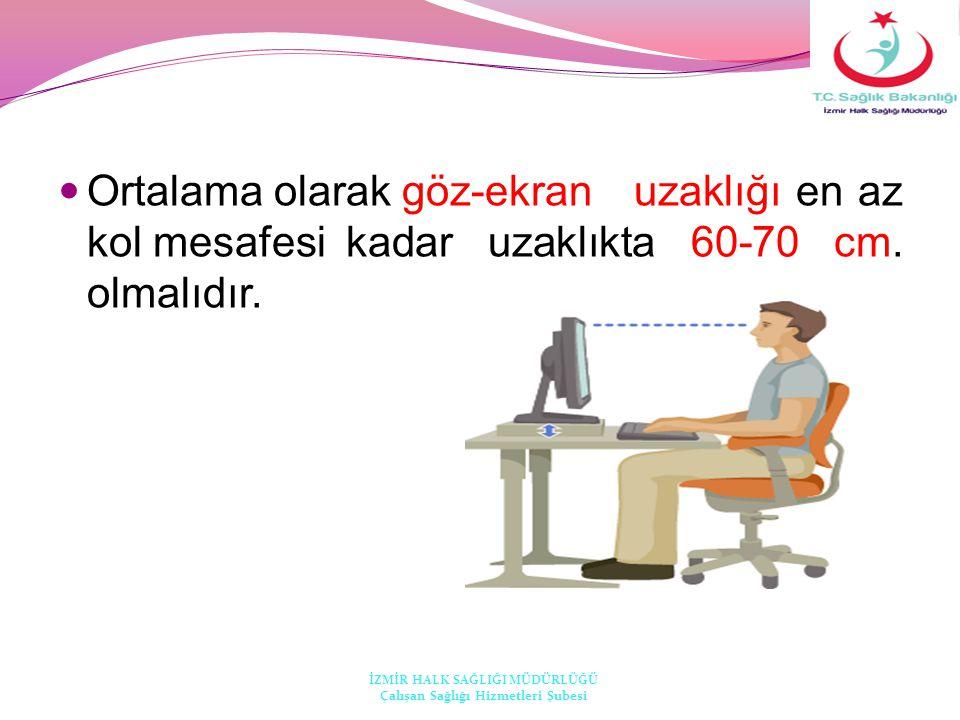  Ortalama olarak göz-ekran uzaklığı en az kol mesafesi kadar uzaklıkta 60-70 cm. olmalıdır. İZMİR HALK SAĞLIĞI MÜDÜRLÜĞÜ Çalışan Sağlığı Hizmetleri Ş