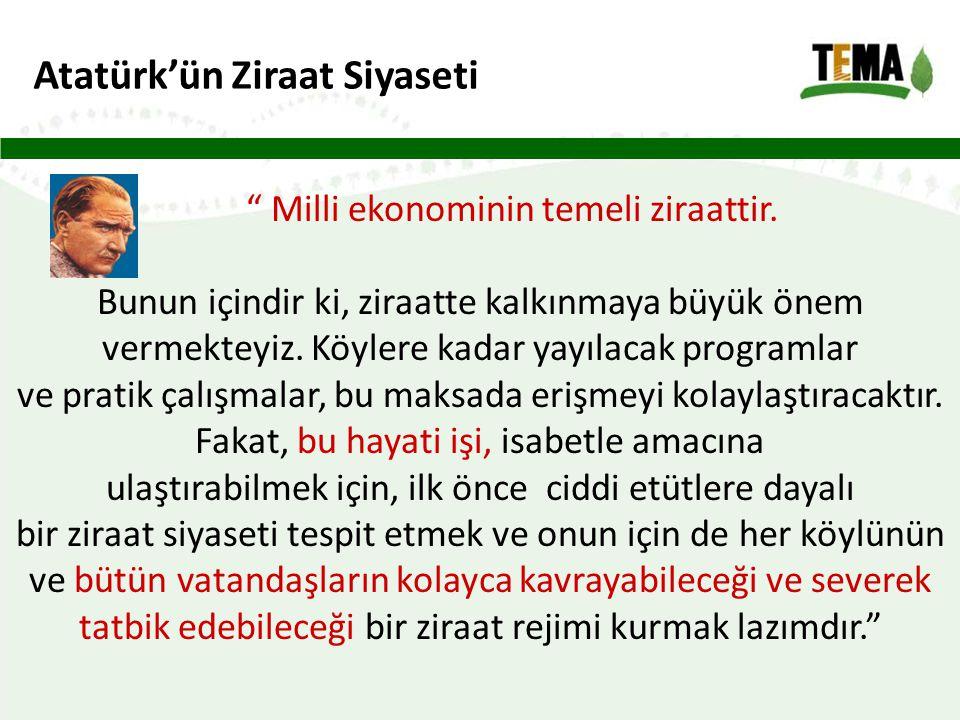 Atatürk'ün Ziraat Siyaseti Milli ekonominin temeli ziraattir.