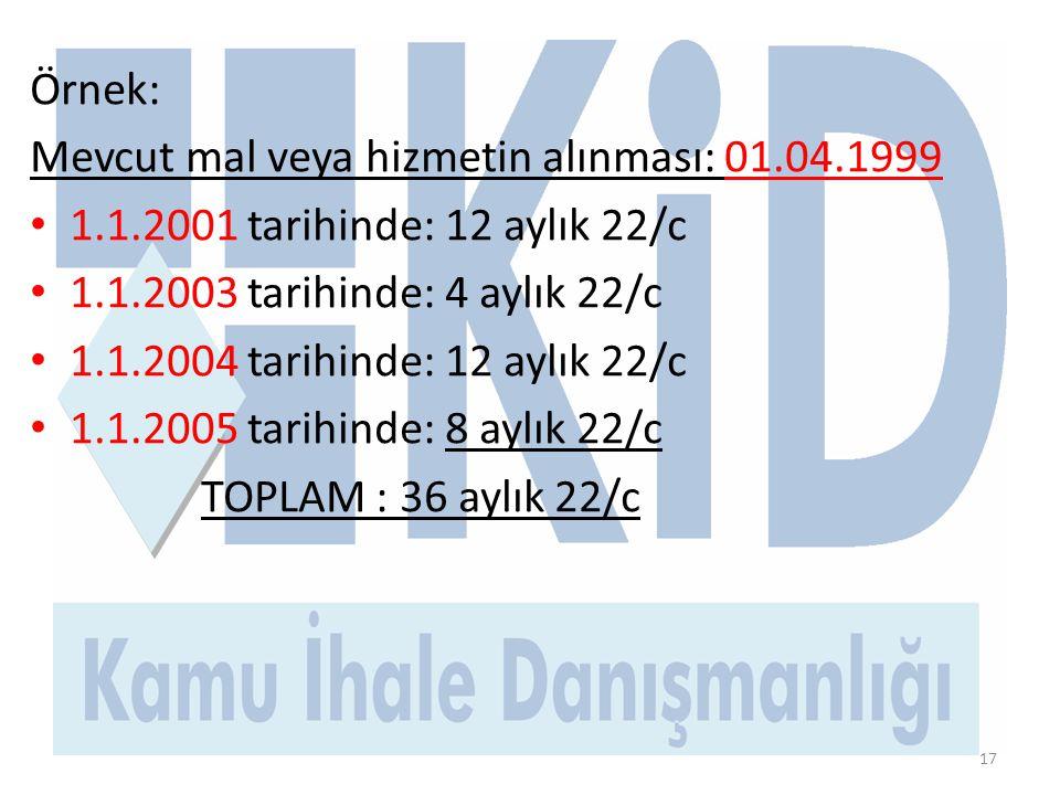 Örnek: Mevcut mal veya hizmetin alınması: 01.04.1999 • 1.1.2001 tarihinde: 12 aylık 22/c • 1.1.2003 tarihinde: 4 aylık 22/c • 1.1.2004 tarihinde: 12 aylık 22/c • 1.1.2005 tarihinde: 8 aylık 22/c TOPLAM : 36 aylık 22/c 17
