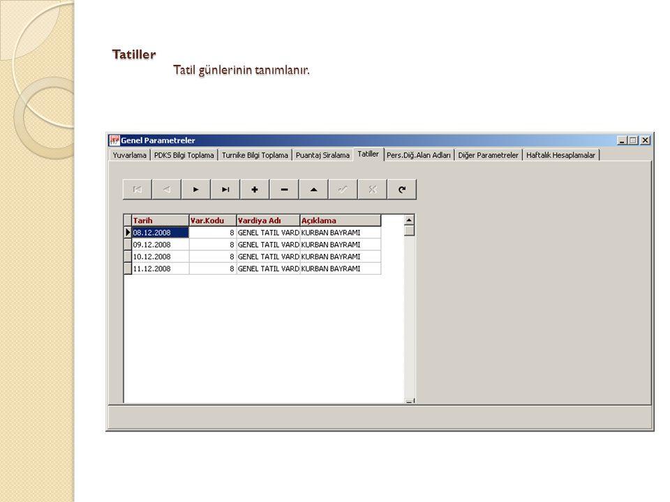 Di ğ er Parametreler Program içerisinde kullanılacak di ğ er parametreler tanımlanır.