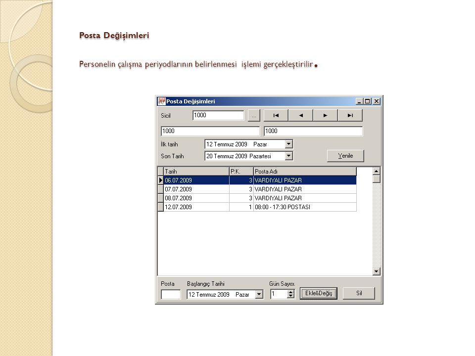 Hızlı Posta De ğ işikli ğ i Pratik bir şekilde posta de ğ işikli ğ i işlemleri gerçekleştirilir.