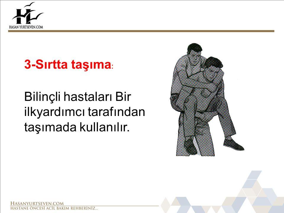 3-Sırtta taşıma : Bilinçli hastaları Bir ilkyardımcı tarafından taşımada kullanılır.