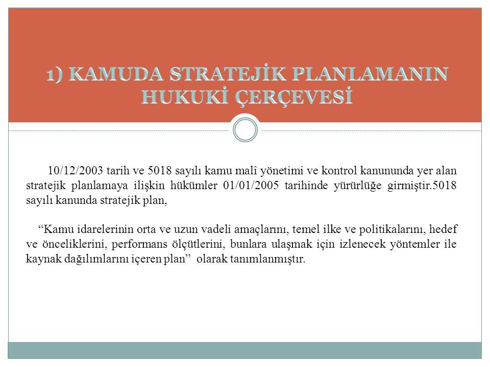 10/12/2003 tarih ve 5018 sayılı kamu malî yönetimi ve kontrol kanununda yer alan stratejik planlamaya ilişkin hükümler 01/01/2005 tarihinde yürürlüğe