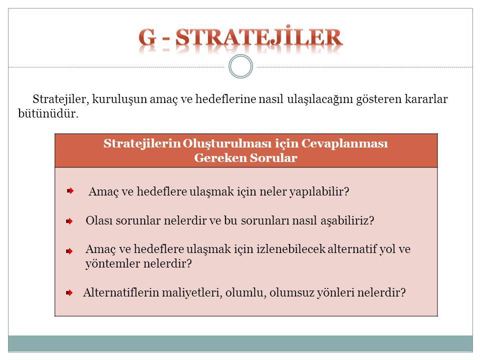 Stratejiler, kuruluşun amaç ve hedeflerine nasıl ulaşılacağını gösteren kararlar bütünüdür. Stratejilerin Oluşturulması için Cevaplanması Gereken Soru
