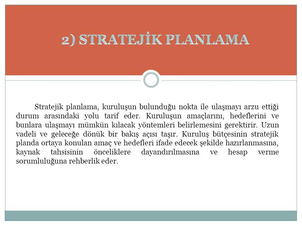 Stratejik planlama, kuruluşun bulunduğu nokta ile ulaşmayı arzu ettiği durum arasındaki yolu tarif eder. Kuruluşun amaçlarını, hedeflerini ve bunlara
