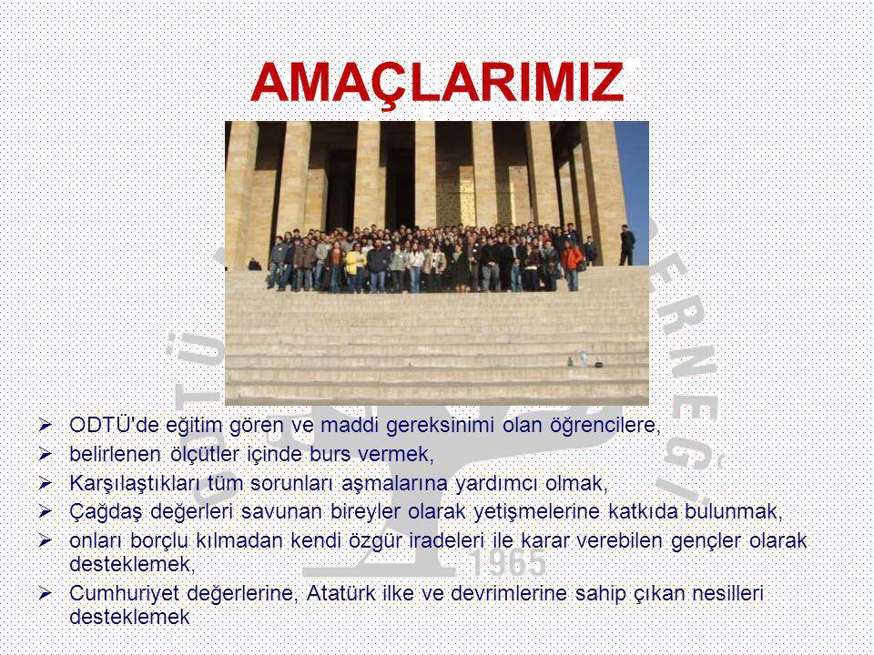 AMACIMIZ  ODTÜ de eğitim gören ve maddi gereksinimi olan öğrencilere,  belirlenen ölçütler içinde burs vermek,  Karşılaştıkları tüm sorunları aşmalarına yardımcı olmak,  Çağdaş değerleri savunan bireyler olarak yetişmelerine katkıda bulunmak,  onları borçlu kılmadan kendi özgür iradeleri ile karar verebilen gençler olarak desteklemek,  Cumhuriyet değerlerine, Atatürk ilke ve devrimlerine sahip çıkan nesilleri desteklemek AMAÇLARIMIZ