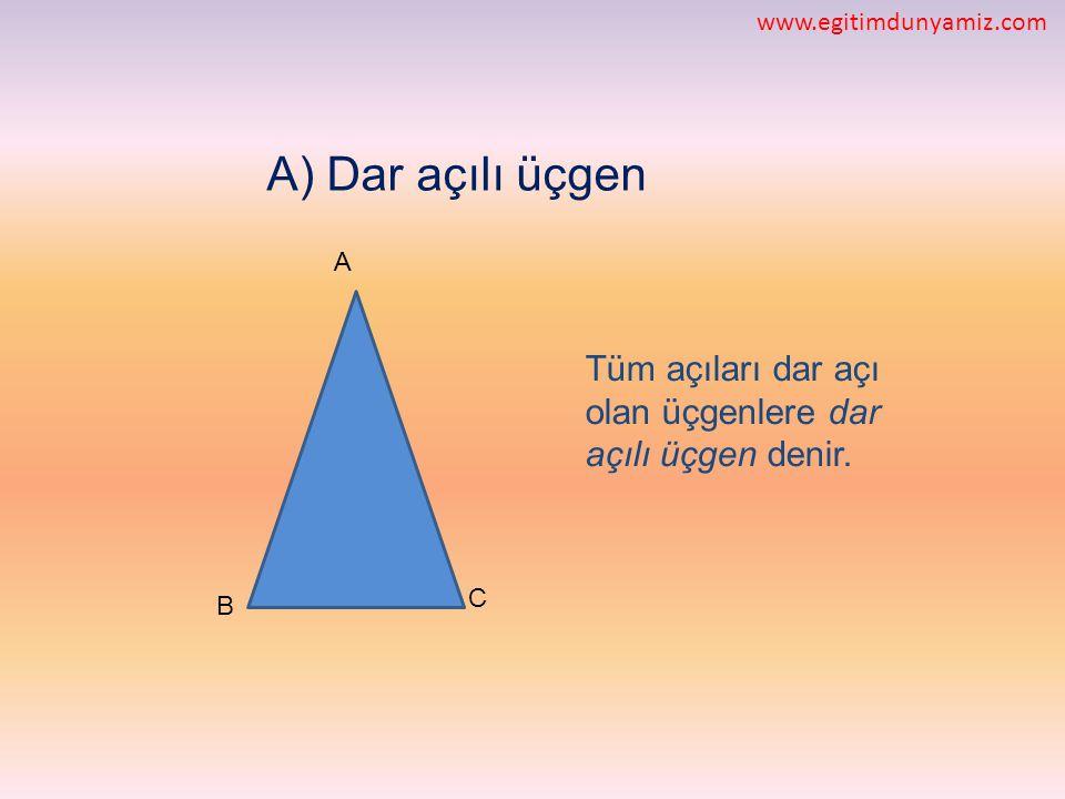 A) Dar açılı üçgen Tüm açıları dar açı olan üçgenlere dar açılı üçgen denir. C B A www.egitimdunyamiz.com