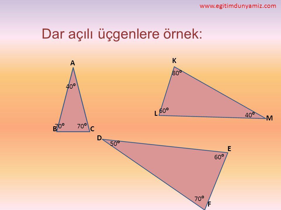 Dar açılı üçgenlere örnek: D E CB A M L K F 40⁰ 70⁰ 40⁰ 80⁰ 60⁰ 70⁰ 60⁰ 50⁰ www.egitimdunyamiz.com