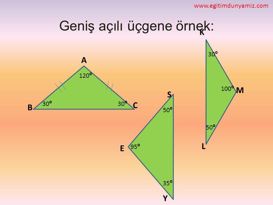 Geniş açılı üçgene örnek: C E S M L K B A Y 35⁰ 50⁰ 30⁰ 95⁰ 30⁰ 120⁰ 50⁰ 30⁰ 100⁰ www.egitimdunyamiz.com