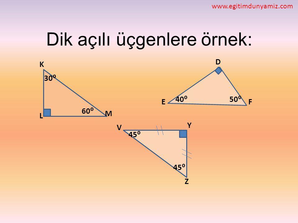 Dik açılı üçgenlere örnek: L D M FE V Y Z K 30⁰ 40⁰ 60⁰ 45⁰ 50⁰ 45⁰ www.egitimdunyamiz.com