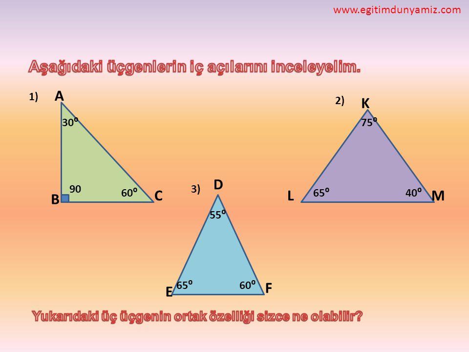 F E D ML K C B A 60⁰ 30⁰ 55⁰ 75⁰ 40⁰65⁰ 90 60⁰65⁰ 3) 2) 1) www.egitimdunyamiz.com