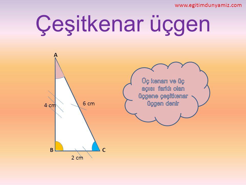 Çeşitkenar üçgen CB A 4 cm 6 cm 2 cm www.egitimdunyamiz.com