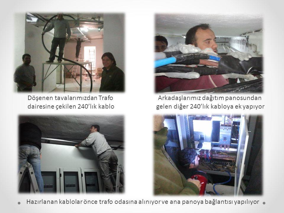 Döşenen tavalarımızdan Trafo dairesine çekilen 240'lık kablo Arkadaşlarımız dağıtım panosundan gelen diğer 240'lık kabloya ek yapıyor Hazırlanan kablo