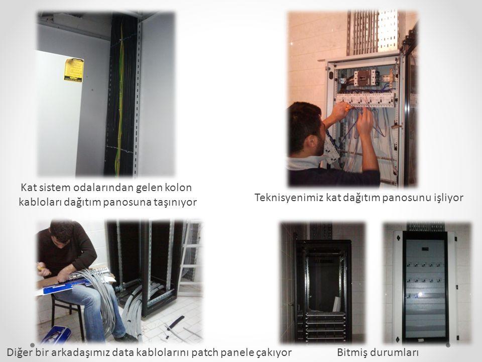 Kat sistem odalarından gelen kolon kabloları dağıtım panosuna taşınıyor Teknisyenimiz kat dağıtım panosunu işliyor Diğer bir arkadaşımız data kablolar