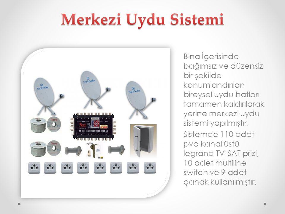 Bina İçerisinde bağımsız ve düzensiz bir şekilde konumlandırılan bireysel uydu hatları tamamen kaldırılarak yerine merkezi uydu sistemi yapılmıştır. S
