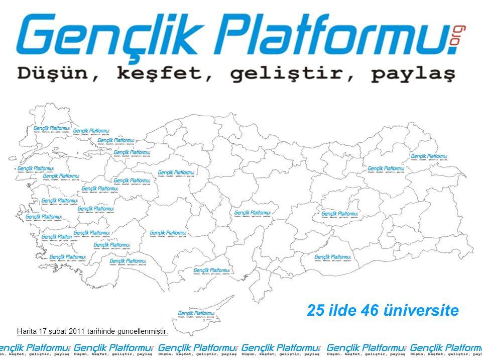 25 ilde 46 üniversite Harita 17 şubat 2011 tarihinde güncellenmiştir.