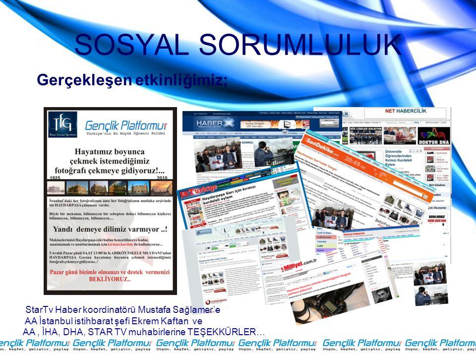 SOSYAL SORUMLULUK StarTv Haber koordinatörü Mustafa Sağlamer'e AA İstanbul istihbarat şefi Ekrem Kaftan ve AA, İHA, DHA, STAR TV muhabirlerine TEŞEKKÜRLER… Gerçekleşen etkinliğimiz;