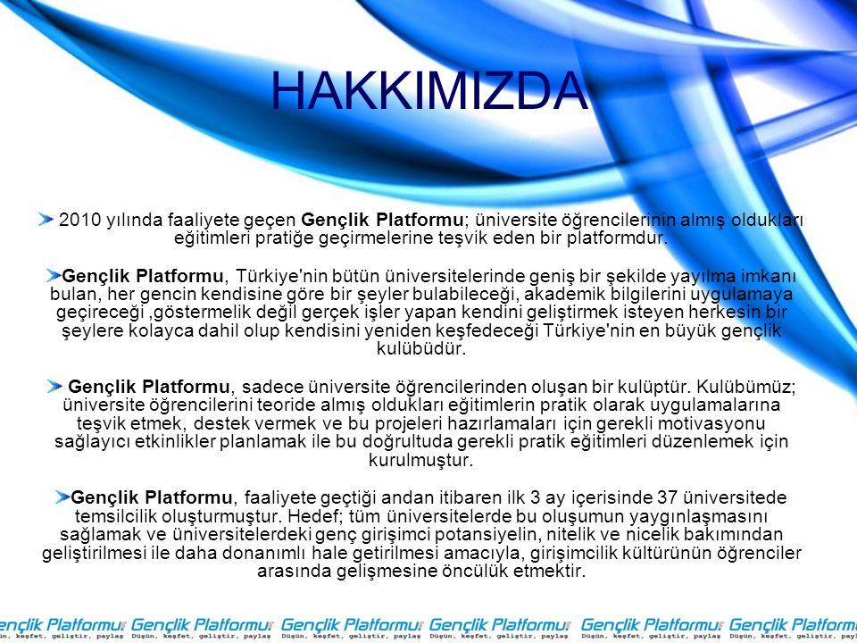HAKKIMIZDA 2010 yılında faaliyete geçen Gençlik Platformu; üniversite öğrencilerinin almış oldukları eğitimleri pratiğe geçirmelerine teşvik eden bir platformdur.