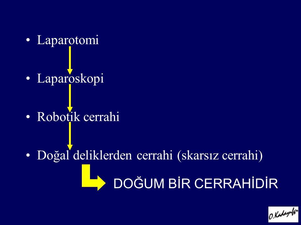 •Laparotomi •Laparoskopi •Robotik cerrahi •Doğal deliklerden cerrahi (skarsız cerrahi) DOĞUM BİR CERRAHİDİR