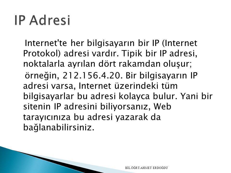 Internet'te her bilgisayarın bir IP (Internet Protokol) adresi vardır. Tipik bir IP adresi, noktalarla ayrılan dört rakamdan oluşur; örneğin, 212.156.