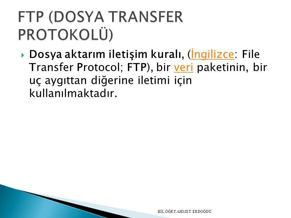 Dosya aktarım iletişim kuralı, (İngilizce: File Transfer Protocol; FTP), bir veri paketinin, bir uç aygıttan diğerine iletimi için kullanılmaktadır.