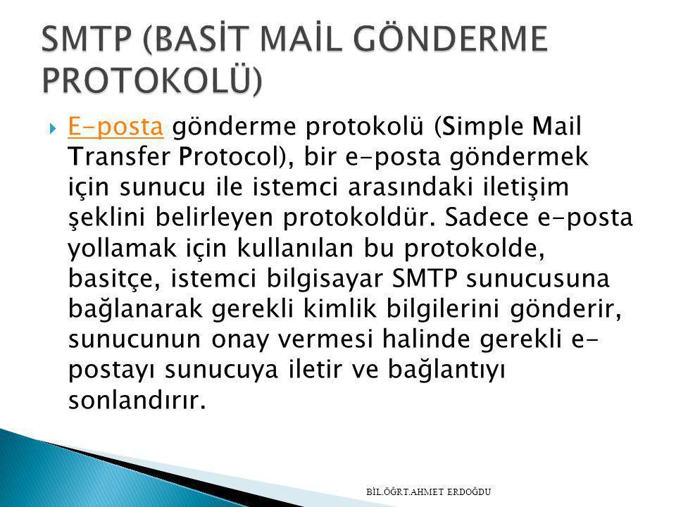  E-posta gönderme protokolü (Simple Mail Transfer Protocol), bir e-posta göndermek için sunucu ile istemci arasındaki iletişim şeklini belirleyen pro