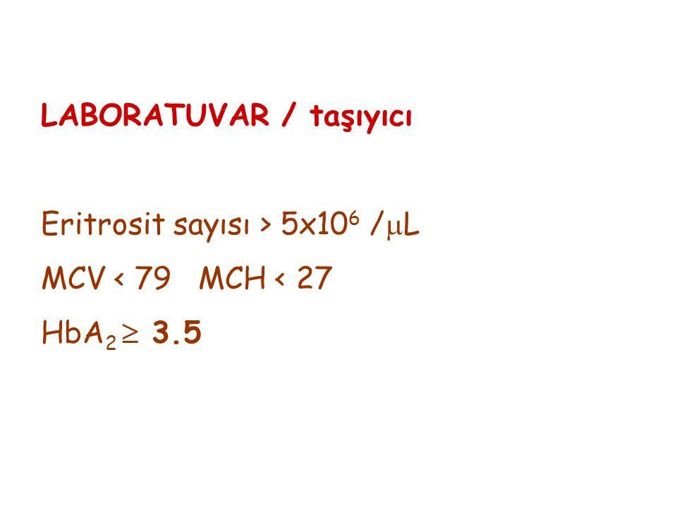 LABORATUVAR / taşıyıcı Eritrosit sayısı > 5x10 6 /  L MCV < 79 MCH < 27 HbA 2  3.5