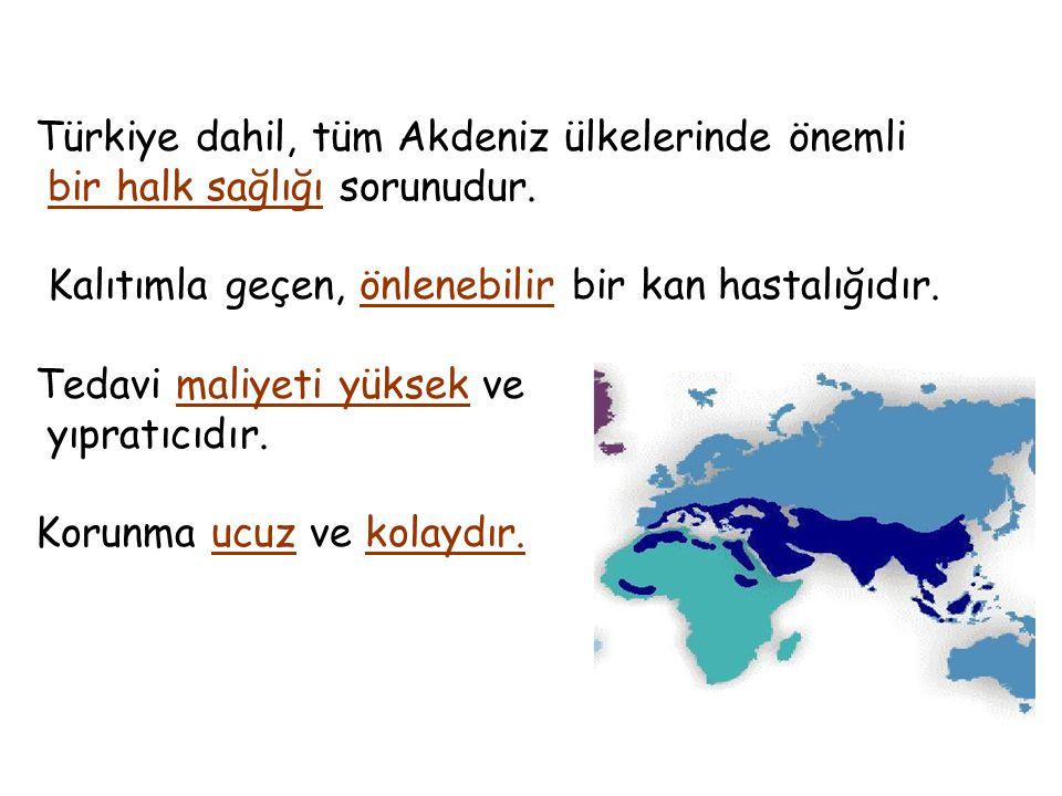 Türkiye dahil, tüm Akdeniz ülkelerinde önemli bir halk sağlığı sorunudur. Kalıtımla geçen, önlenebilir bir kan hastalığıdır. Tedavi maliyeti yüksek ve